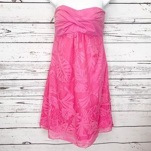 LILLY PULITZER pink leaves strapless dress